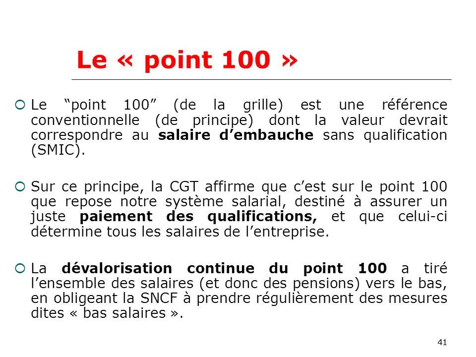 41 Le « point 100 » Le point 100 (de la grille) est une référence conventionnelle (de principe) dont la valeur devrait correspondre au salaire dembauche sans qualification (SMIC).