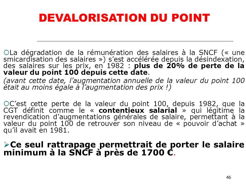 46 La dégradation de la rémunération des salaires à la SNCF (« une smicardisation des salaires ») sest accélérée depuis la désindexation, des salaires sur les prix, en 1982 : plus de 20% de perte de la valeur du point 100 depuis cette date.