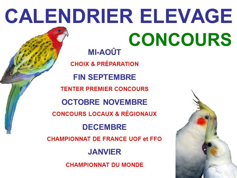 CALENDRIER ELEVAGE CONCOURS MI-AOÛT CHOIX & PRÉPARATION FIN SEPTEMBRE TENTER PREMIER CONCOURS OCTOBRE NOVEMBRE CONCOURS LOCAUX & RÉGIONAUX DECEMBRE CHAMPIONNAT DE FRANCE UOF et FFO JANVIER CHAMPIONNAT DU MONDE