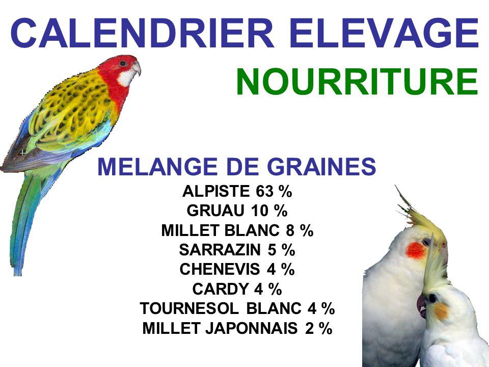 CALENDRIER ELEVAGE MELANGE DE GRAINES ALPISTE 63 % GRUAU 10 % MILLET BLANC 8 % SARRAZIN 5 % CHENEVIS 4 % CARDY 4 % TOURNESOL BLANC 4 % MILLET JAPONNAIS 2 % NOURRITURE