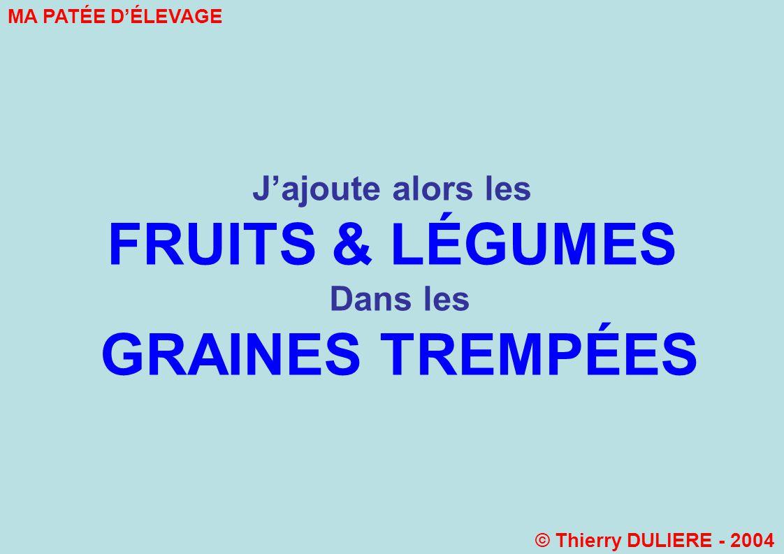 Jajoute alors les FRUITS & LÉGUMES Dans les GRAINES TREMPÉES MA PATÉE DÉLEVAGE © Thierry DULIERE - 2004