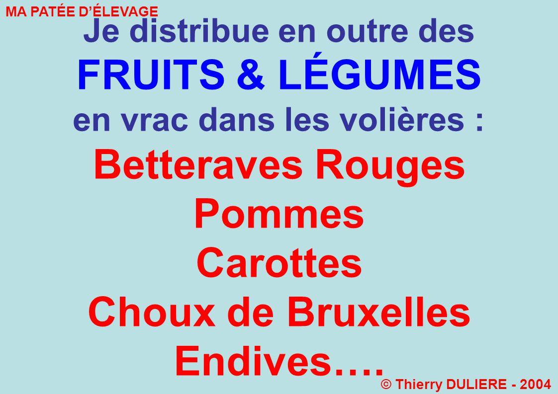 Je distribue en outre des FRUITS & LÉGUMES en vrac dans les volières : Betteraves Rouges Pommes Carottes Choux de Bruxelles Endives…. MA PATÉE DÉLEVAG