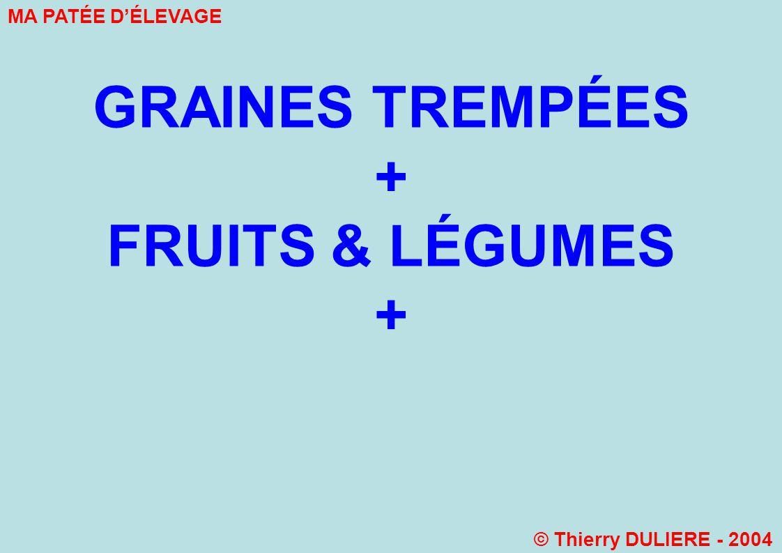 GRAINES TREMPÉES + FRUITS & LÉGUMES + MA PATÉE DÉLEVAGE © Thierry DULIERE - 2004