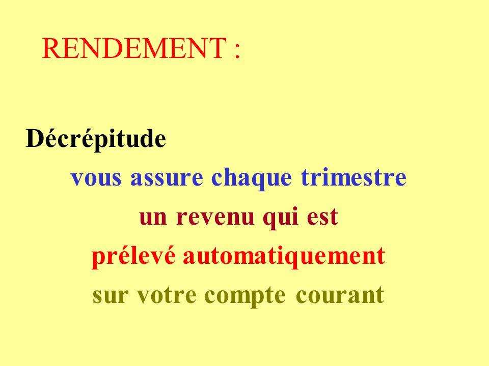RENDEMENT : Décrépitude vous assure chaque trimestre un revenu qui est prélevé automatiquement sur votre compte courant