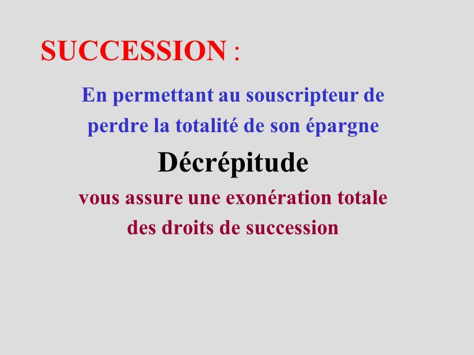 SUCCESSION : En permettant au souscripteur de perdre la totalité de son épargne Décrépitude vous assure une exonération totale des droits de succession