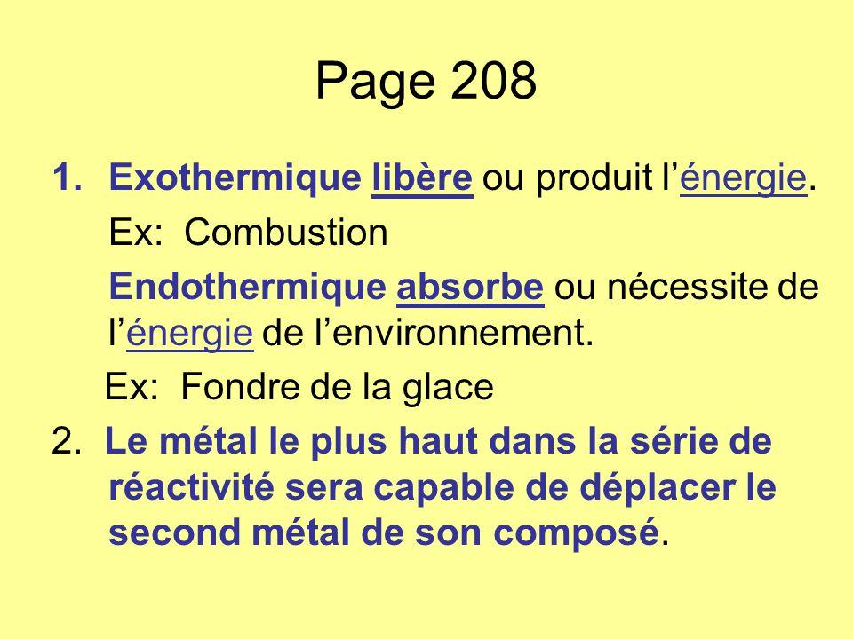 Page 208 1.Exothermique libère ou produit lénergie. Ex: Combustion Endothermique absorbe ou nécessite de lénergie de lenvironnement. Ex: Fondre de la