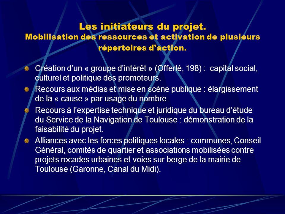 Les initiateurs du projet. Mobilisation des ressources et activation de plusieurs répertoires daction. Création dun « groupe dintérêt » (Offerlé, 198)