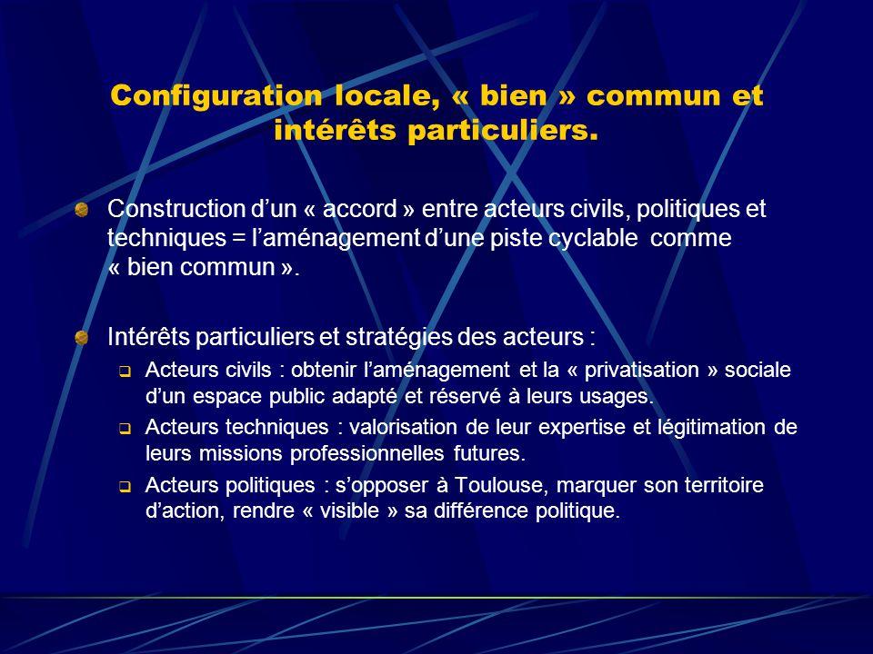 Configuration locale, « bien » commun et intérêts particuliers. Construction dun « accord » entre acteurs civils, politiques et techniques = laménagem