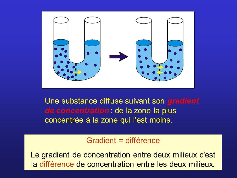 Une substance diffuse suivant son gradient de concentration : de la zone la plus concentrée à la zone qui lest moins. Gradient = différence Le gradien