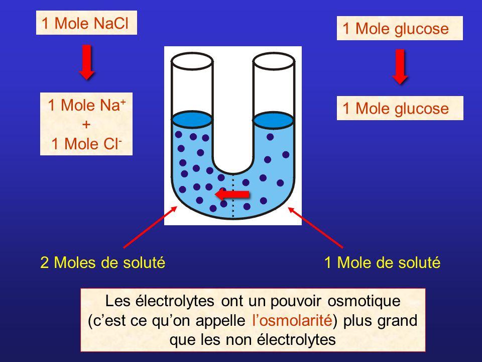 1 Mole NaCl 1 Mole Na + + 1 Mole Cl - 1 Mole glucose 2 Moles de soluté1 Mole de soluté Les électrolytes ont un pouvoir osmotique (cest ce quon appelle