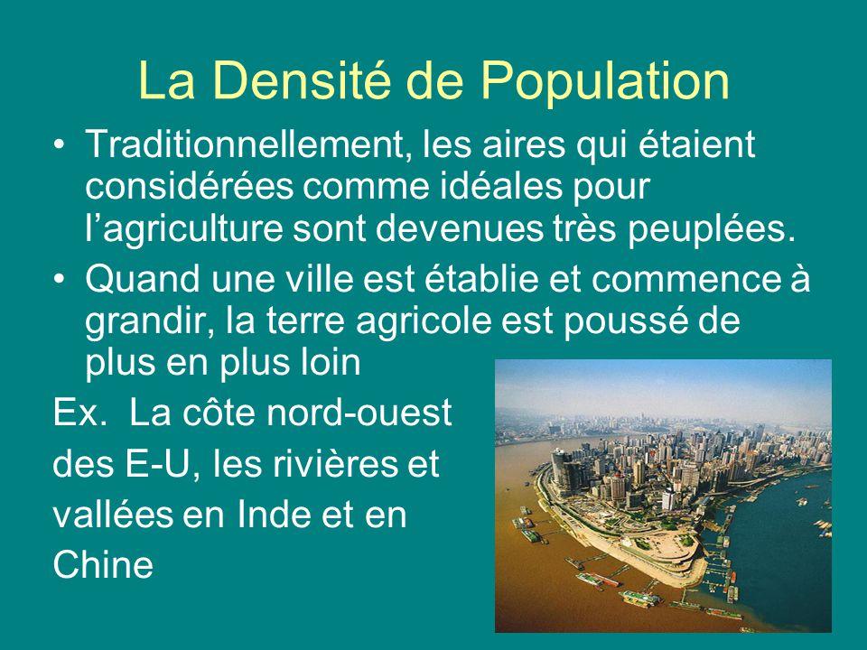 La Densité de Population Traditionnellement, les aires qui étaient considérées comme idéales pour lagriculture sont devenues très peuplées. Quand une