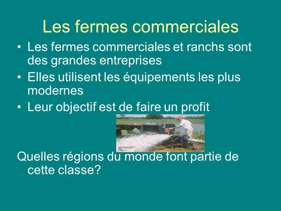 Les fermes commerciales Les fermes commerciales et ranchs sont des grandes entreprises Elles utilisent les équipements les plus modernes Leur objectif