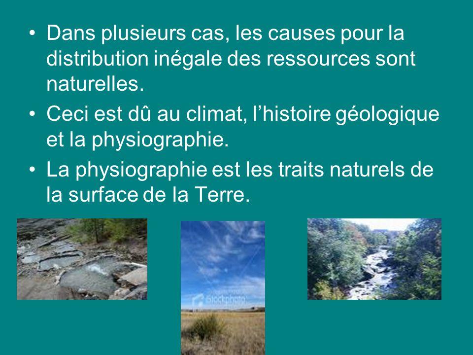 Dans plusieurs cas, les causes pour la distribution inégale des ressources sont naturelles. Ceci est dû au climat, lhistoire géologique et la physiogr