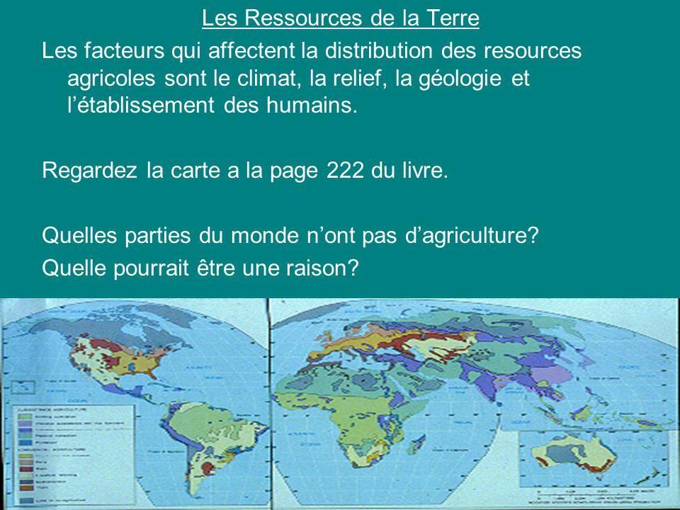 Les Ressources de la Terre Les facteurs qui affectent la distribution des resources agricoles sont le climat, la relief, la géologie et létablissement