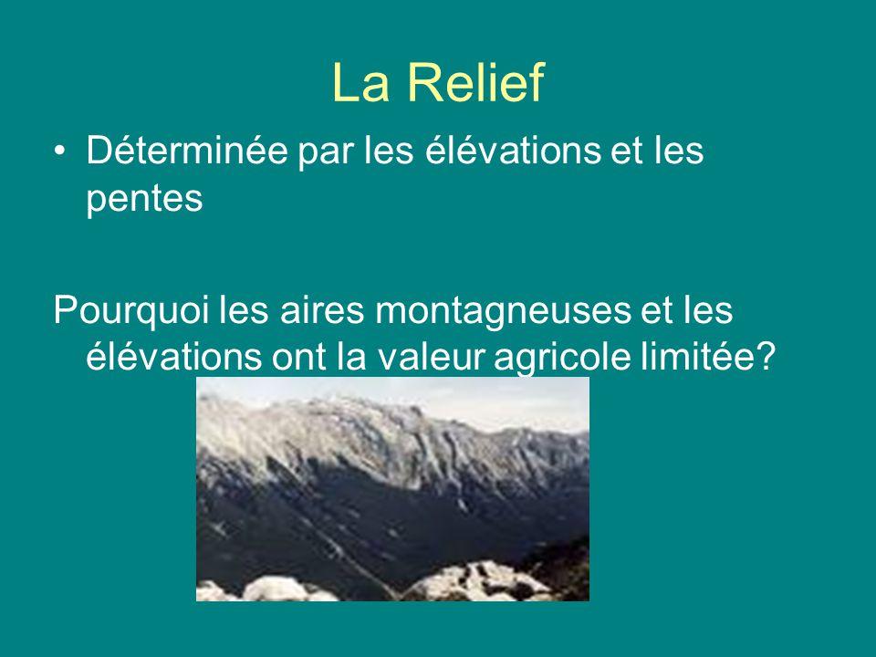 La Relief Déterminée par les élévations et les pentes Pourquoi les aires montagneuses et les élévations ont la valeur agricole limitée?
