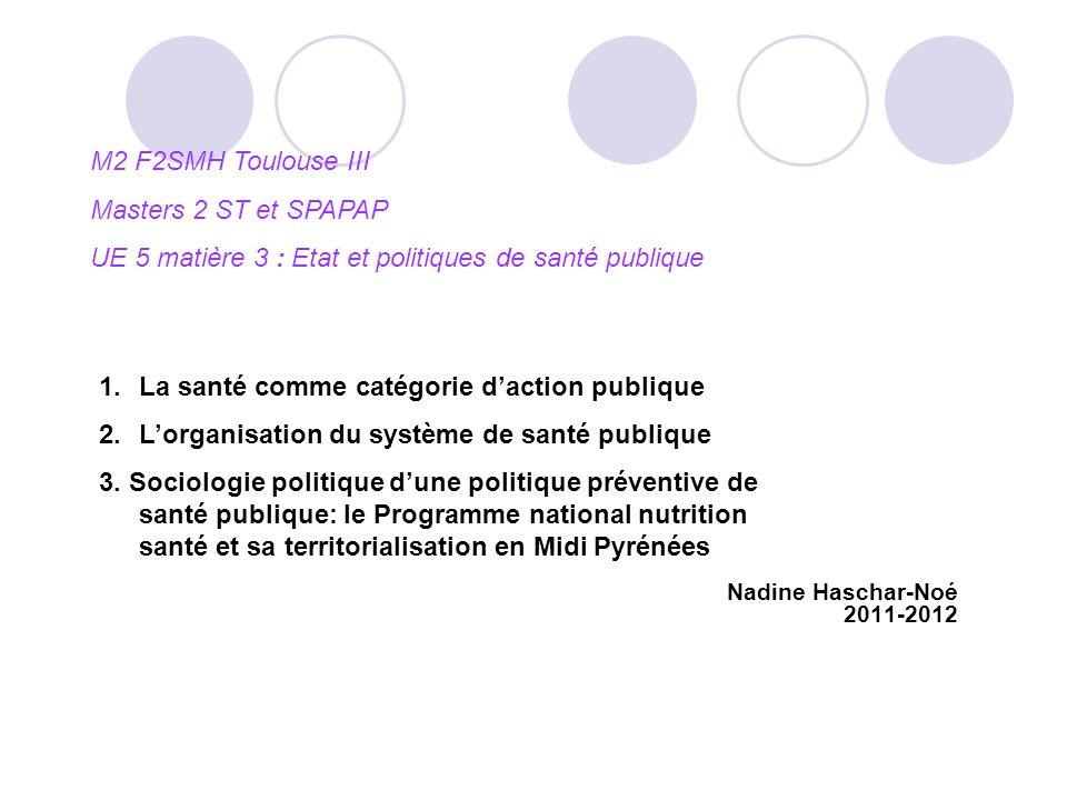 Nadine Haschar-Noé 2011-2012 M2 F2SMH Toulouse III Masters 2 ST et SPAPAP UE 5 matière 3 : Etat et politiques de santé publique 1.La santé comme catég