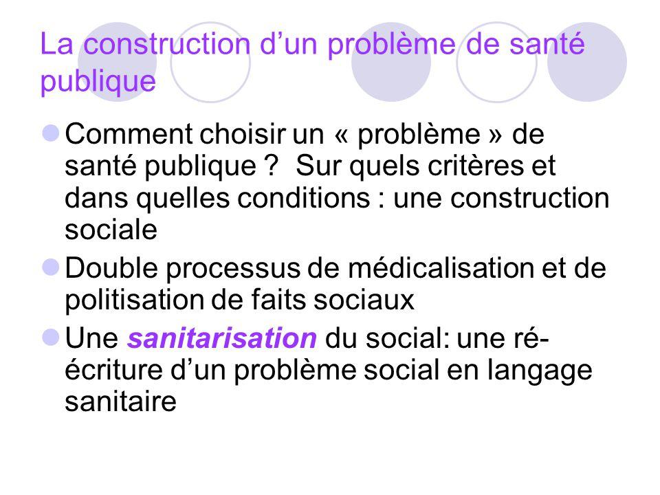 La construction dun problème de santé publique Comment choisir un « problème » de santé publique ? Sur quels critères et dans quelles conditions : une