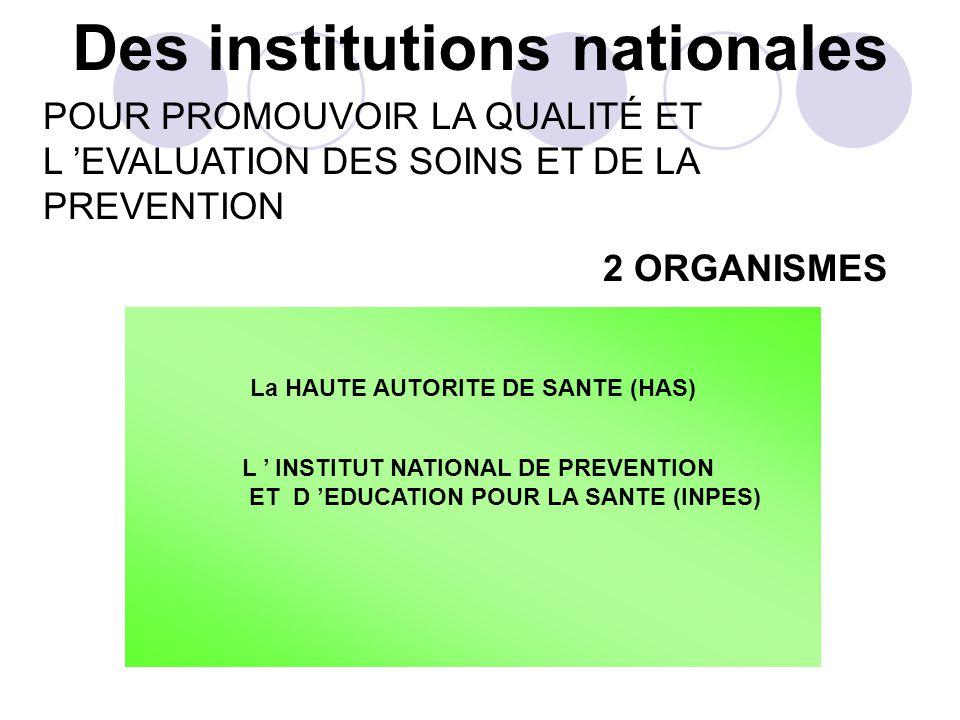 Des institutions nationales 2 ORGANISMES La HAUTE AUTORITE DE SANTE (HAS) L INSTITUT NATIONAL DE PREVENTION ET D EDUCATION POUR LA SANTE (INPES) POUR