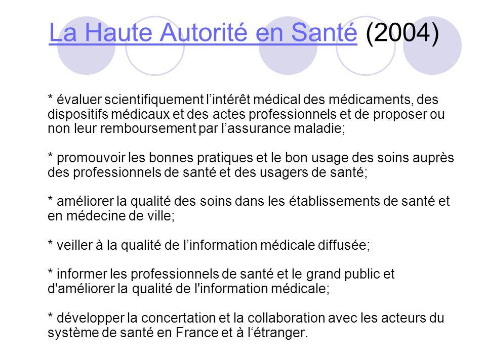 La Haute Autorité en SantéLa Haute Autorité en Santé (2004) * évaluer scientifiquement lintérêt médical des médicaments, des dispositifs médicaux et d