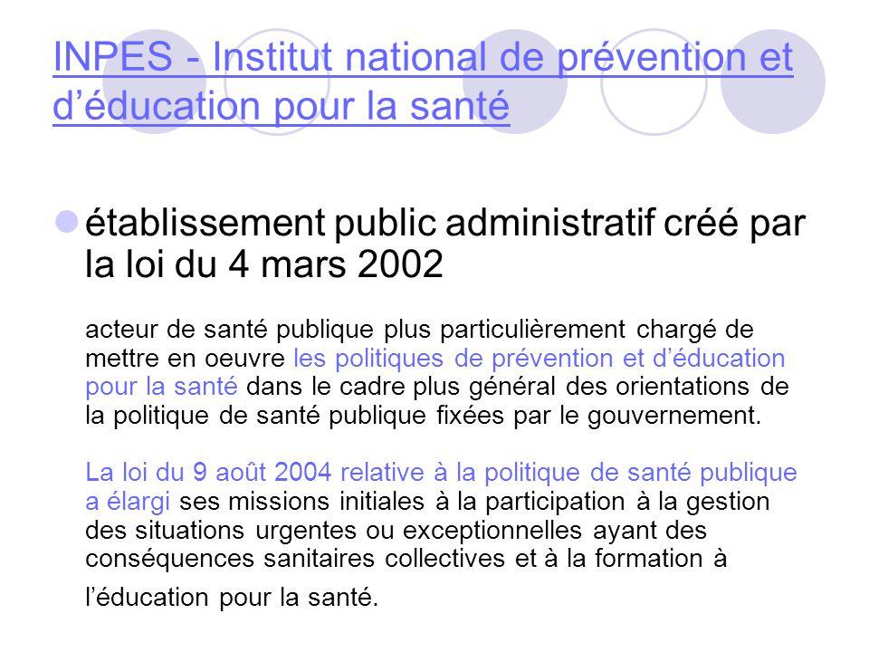 INPES - Institut national de prévention et déducation pour la santé établissement public administratif créé par la loi du 4 mars 2002 acteur de santé