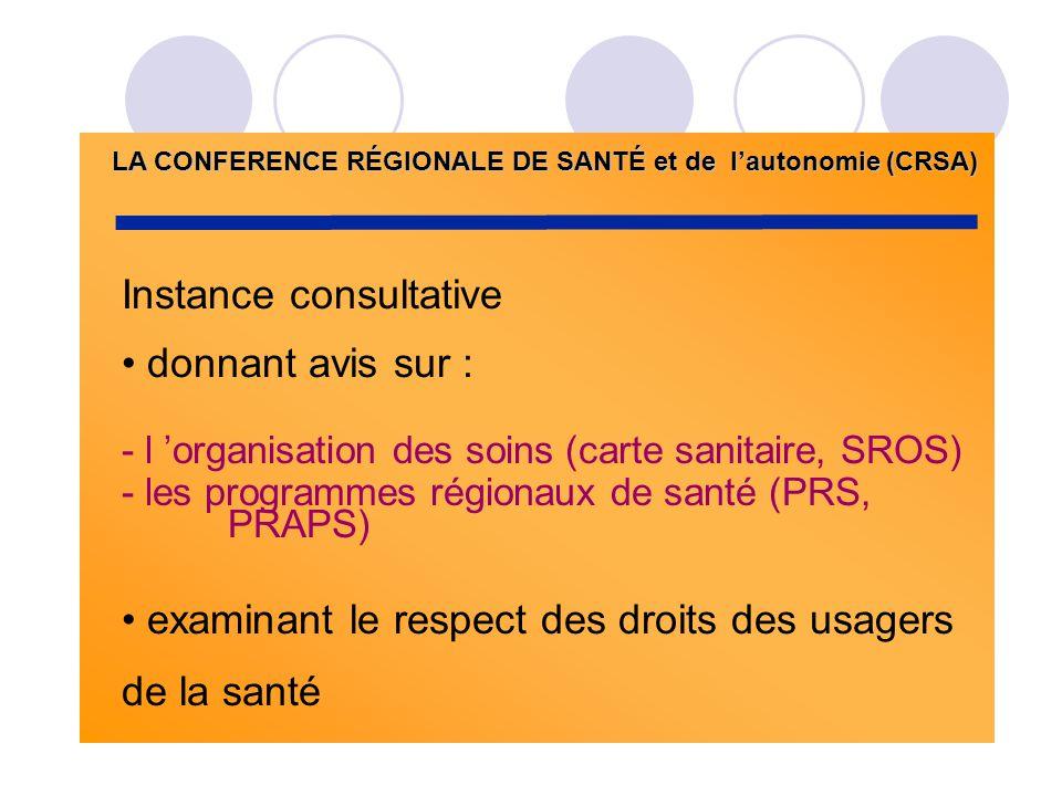 LA CONFERENCE RÉGIONALE DE SANTÉ et de lautonomie (CRSA) Instance consultative donnant avis sur : - l organisation des soins (carte sanitaire, SROS) -