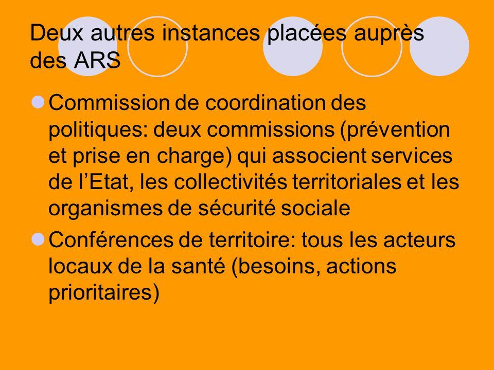 Deux autres instances placées auprès des ARS Commission de coordination des politiques: deux commissions (prévention et prise en charge) qui associent
