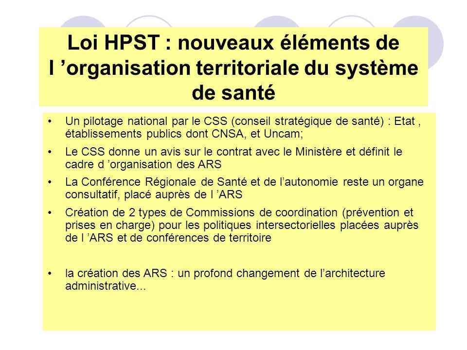 Un pilotage national par le CSS (conseil stratégique de santé) : Etat, établissements publics dont CNSA, et Uncam; Le CSS donne un avis sur le contrat