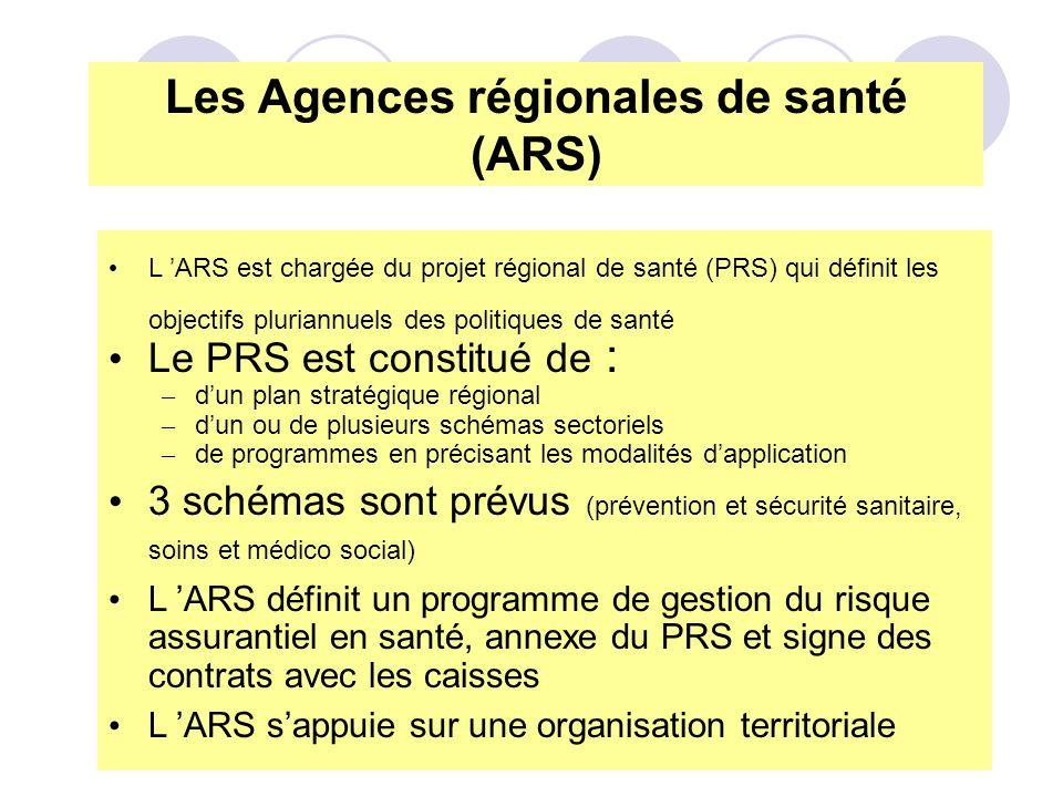 L ARS est chargée du projet régional de santé (PRS) qui définit les objectifs pluriannuels des politiques de santé Le PRS est constitué de : – dun pla