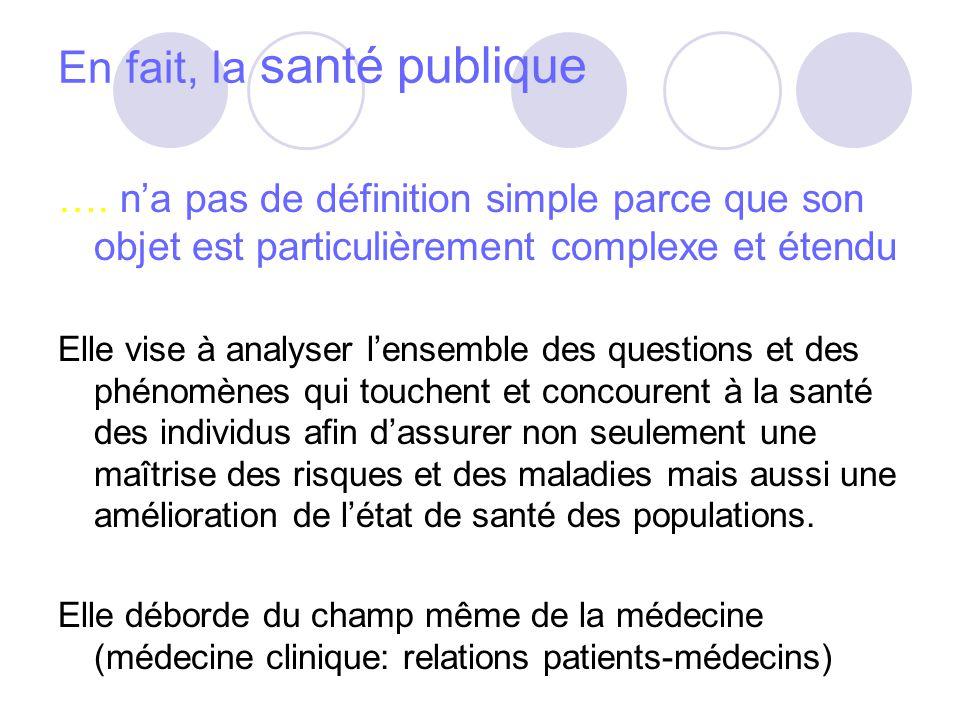 En fait, la santé publique …. na pas de définition simple parce que son objet est particulièrement complexe et étendu Elle vise à analyser lensemble d