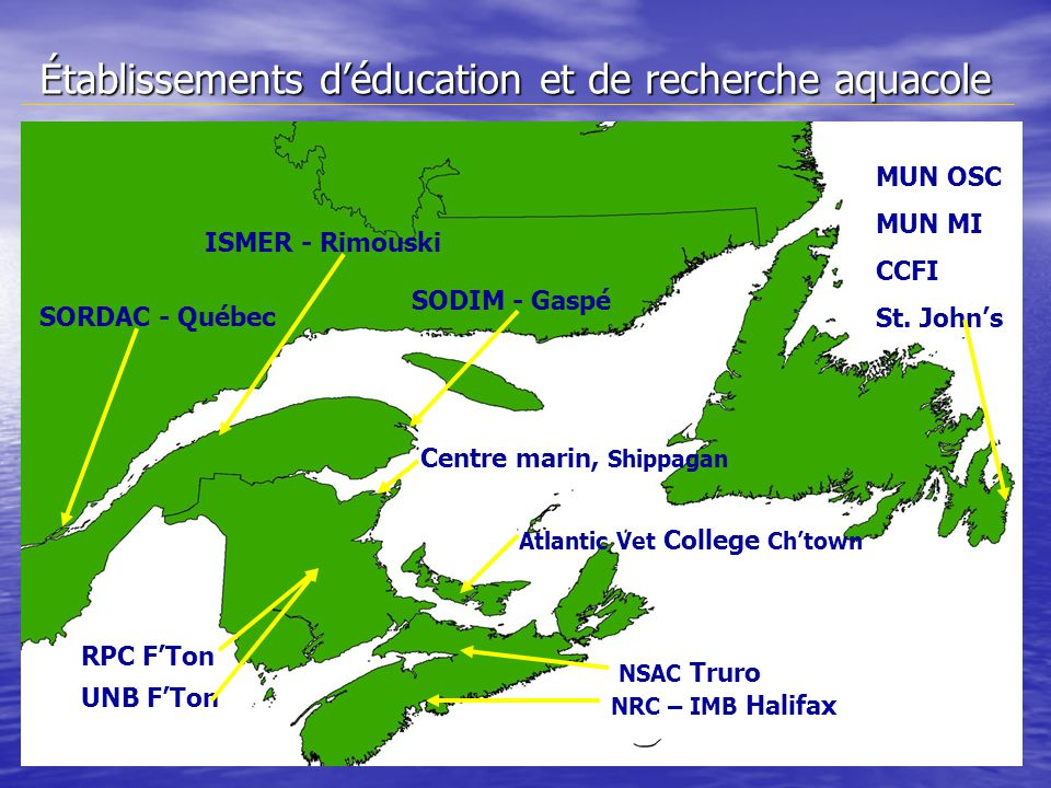Établissements déducation et de recherche aquacole NRC – IMB Halifax NSAC Truro UNB FTon RPC FTon ISMER - Rimouski SORDAC - Québec SODIM - Gaspé Centre marin, Shippagan Atlantic Vet College Chtown MUN OSC MUN MI CCFI St.