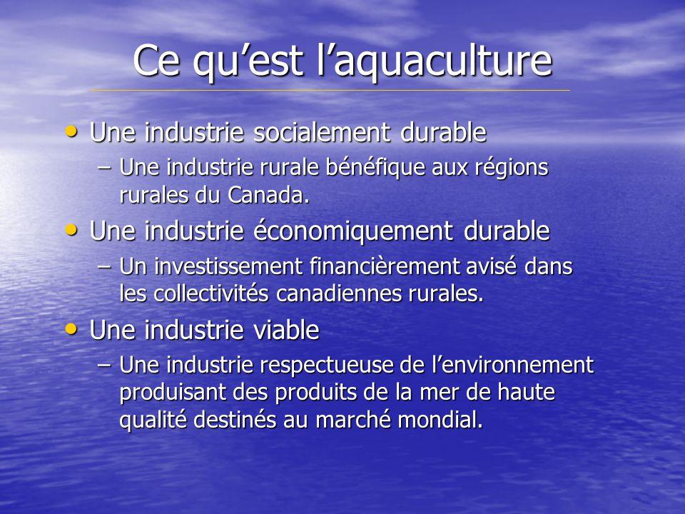 Ce quest laquaculture Une industrie socialement durable Une industrie socialement durable –Une industrie rurale bénéfique aux régions rurales du Canada.
