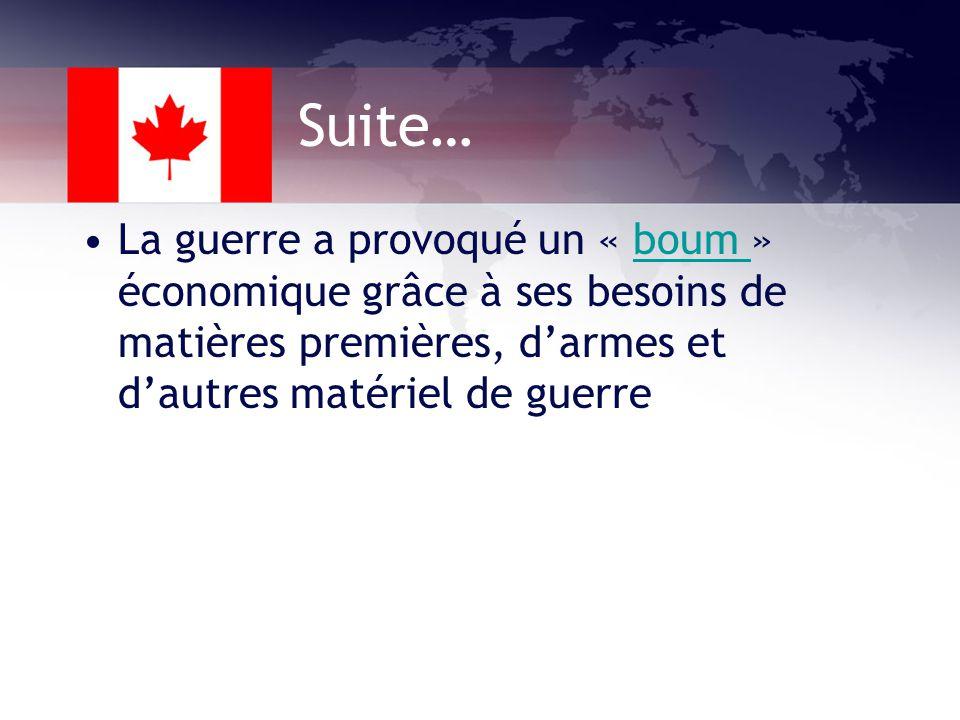Les changements économiques 1939: 12 ou 13% des Canadiens étaient sans emplois et un million étaient aidés MAIS….