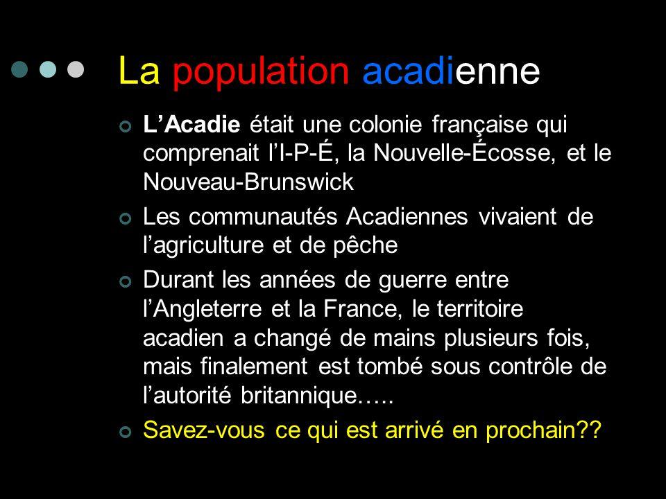La population acadienne LAcadie était une colonie française qui comprenait lI-P-É, la Nouvelle-Écosse, et le Nouveau-Brunswick Les communautés Acadien