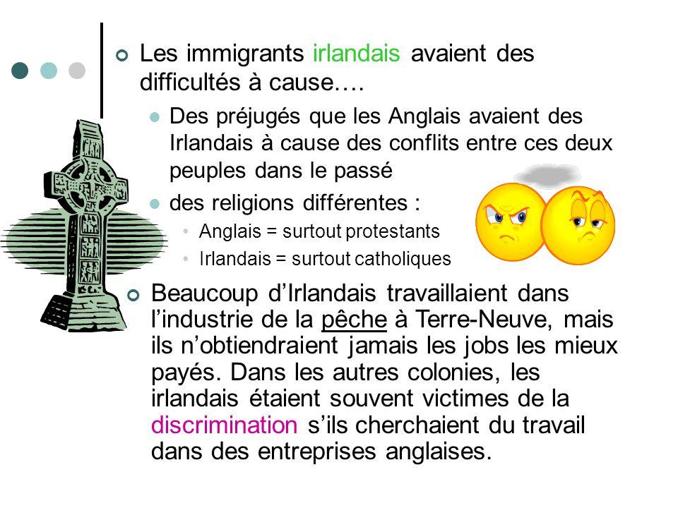 Les immigrants irlandais avaient des difficultés à cause…. Des préjugés que les Anglais avaient des Irlandais à cause des conflits entre ces deux peup