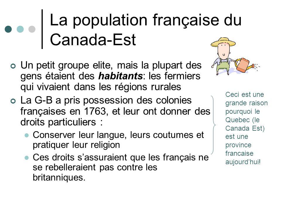 La population française du Canada-Est Un petit groupe elite, mais la plupart des gens étaient des habitants: les fermiers qui vivaient dans les région