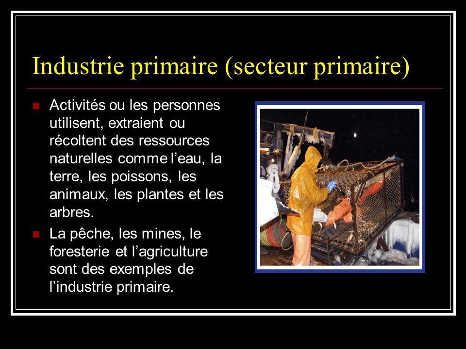 Industrie primaire (secteur primaire) Activités ou les personnes utilisent, extraient ou récoltent des ressources naturelles comme leau, la terre, les