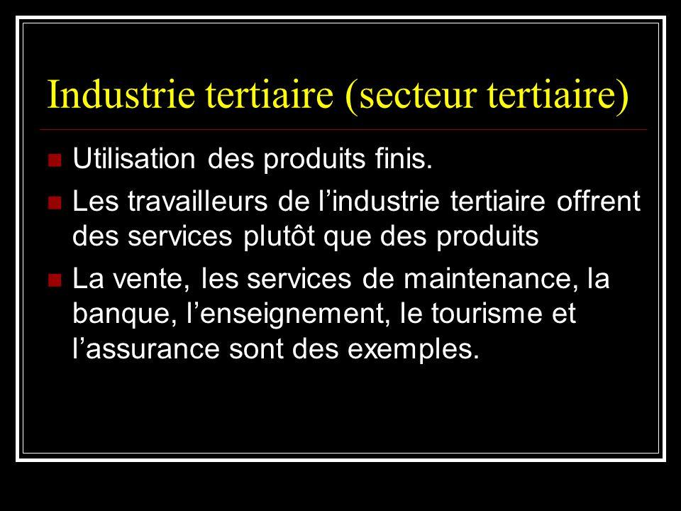 Industrie tertiaire (secteur tertiaire) Utilisation des produits finis. Les travailleurs de lindustrie tertiaire offrent des services plutôt que des p