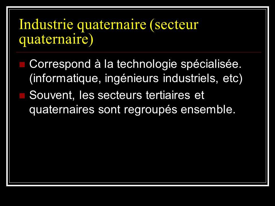Industrie quaternaire (secteur quaternaire) Correspond à la technologie spécialisée. (informatique, ingénieurs industriels, etc) Souvent, les secteurs