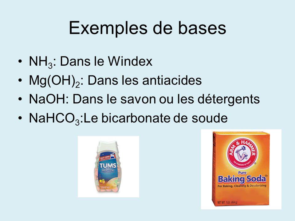 Exemples de bases NH 3 : Dans le Windex Mg(OH) 2 : Dans les antiacides NaOH: Dans le savon ou les détergents NaHCO 3 :Le bicarbonate de soude