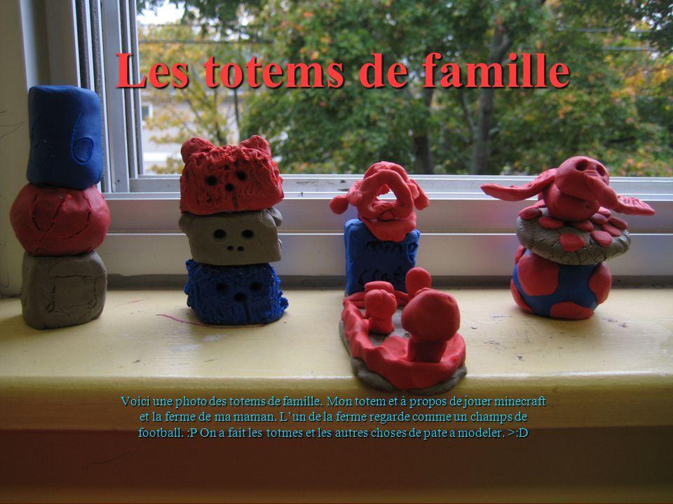 Les totems de famille Voici une photo des totems de famille. Mon totem et à propos de jouer minecraft et la ferme de ma maman. Lun de la ferme regarde