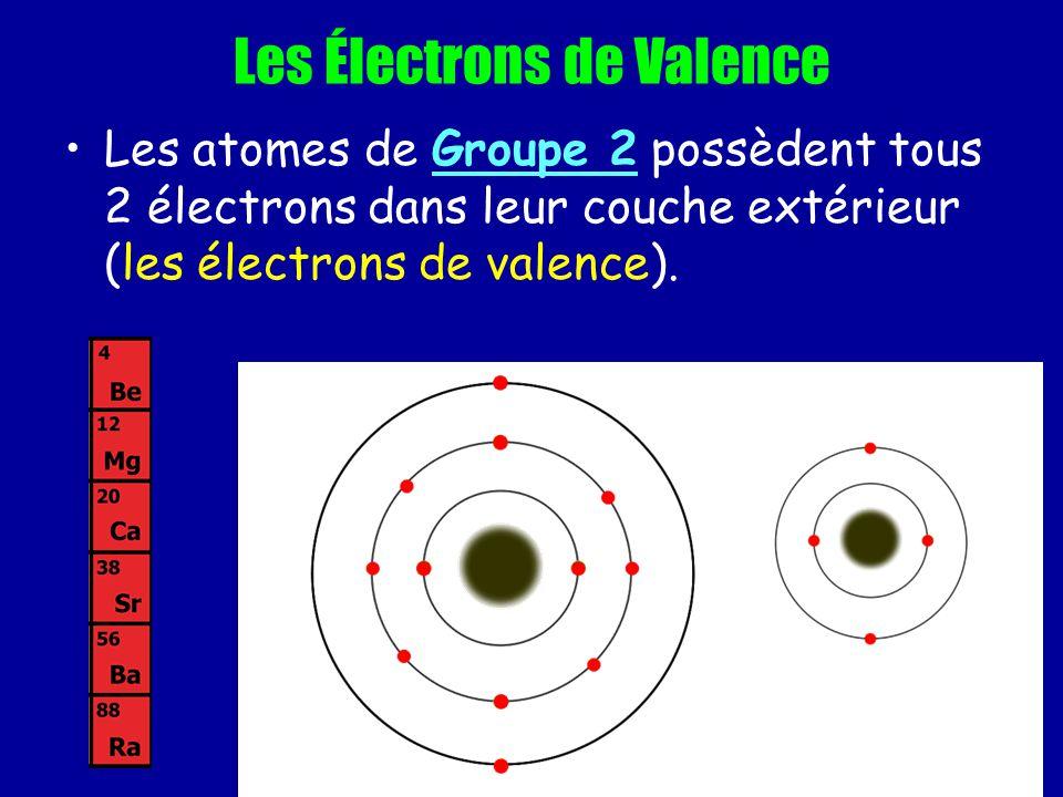 Les Électrons de Valence Les atomes de Groupe 2 possèdent tous 2 électrons dans leur couche extérieur (les électrons de valence).
