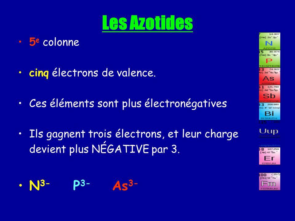 Les Azotides 5 e colonne cinq électrons de valence. Ces éléments sont plus électronégatives Ils gagnent trois électrons, et leur charge devient plus N