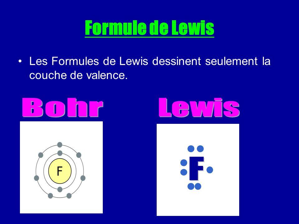 Formule de Lewis Les Formules de Lewis dessinent seulement la couche de valence.