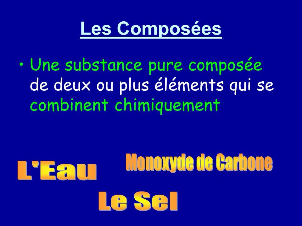 Les Composées Une substance pure composée de deux ou plus éléments qui se combinent chimiquement