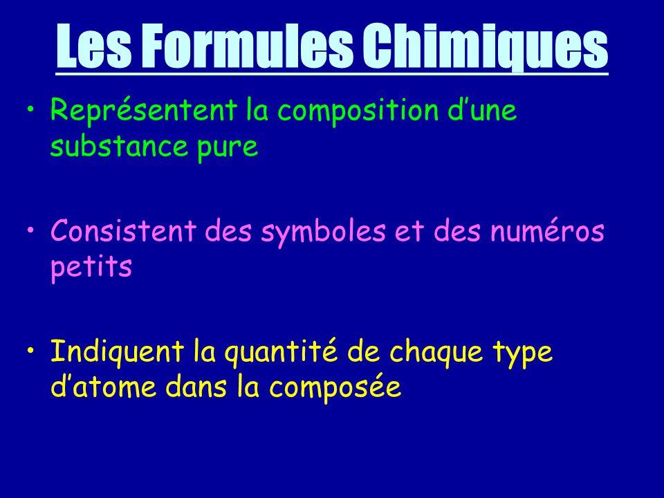 Les Formules Chimiques Représentent la composition dune substance pure Consistent des symboles et des numéros petits Indiquent la quantité de chaque type datome dans la composée