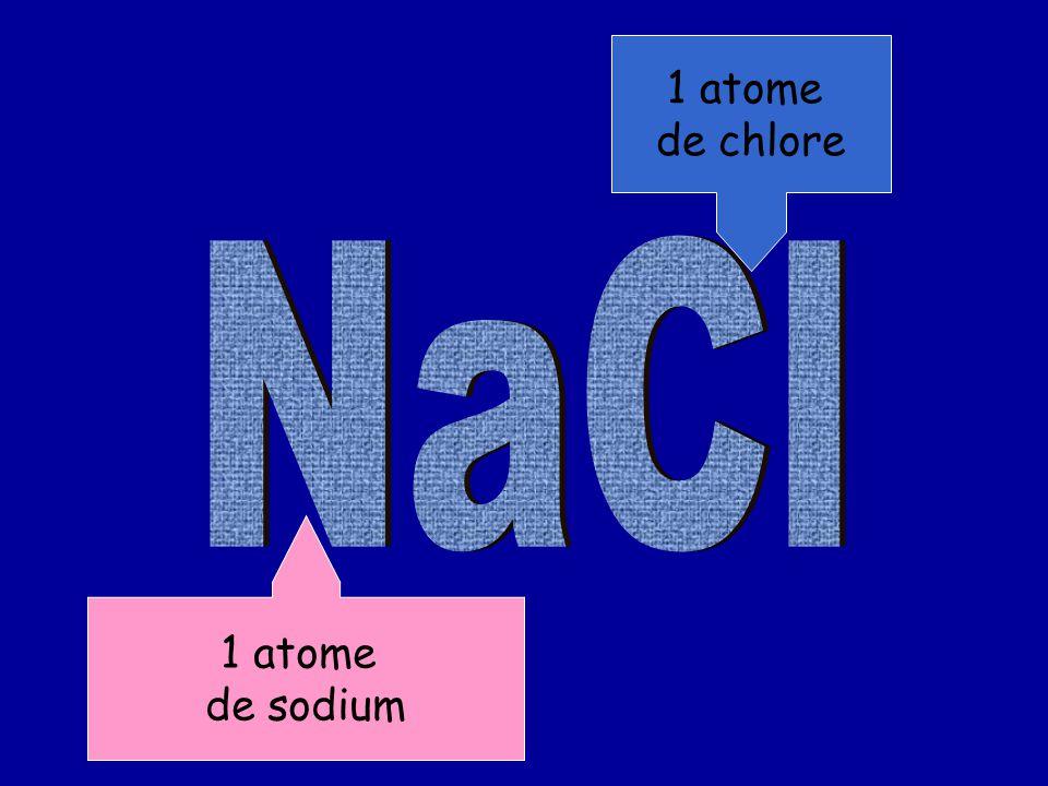 1 atome de sodium 1 atome de chlore