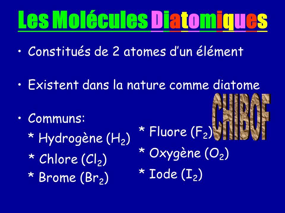 Les Molécules Diatomiques Constitués de 2 atomes dun élément Existent dans la nature comme diatome Communs: * Hydrogène (H 2 ) * Chlore (Cl 2 ) * Brom