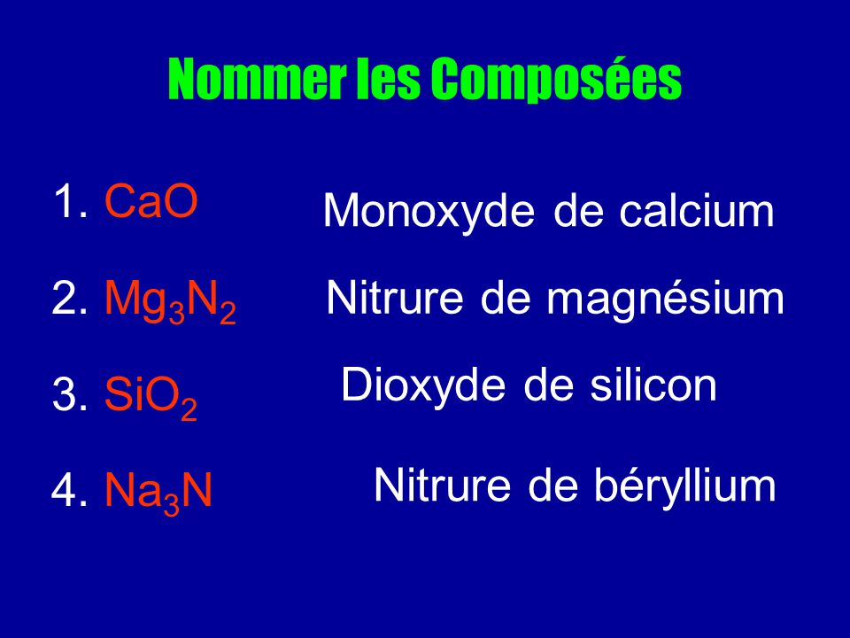 Nommer les Composées 1. CaO 2. Mg 3 N 2 3. SiO 2 4. Na 3 N Monoxyde de calcium Nitrure de magnésium Dioxyde de silicon Nitrure de béryllium