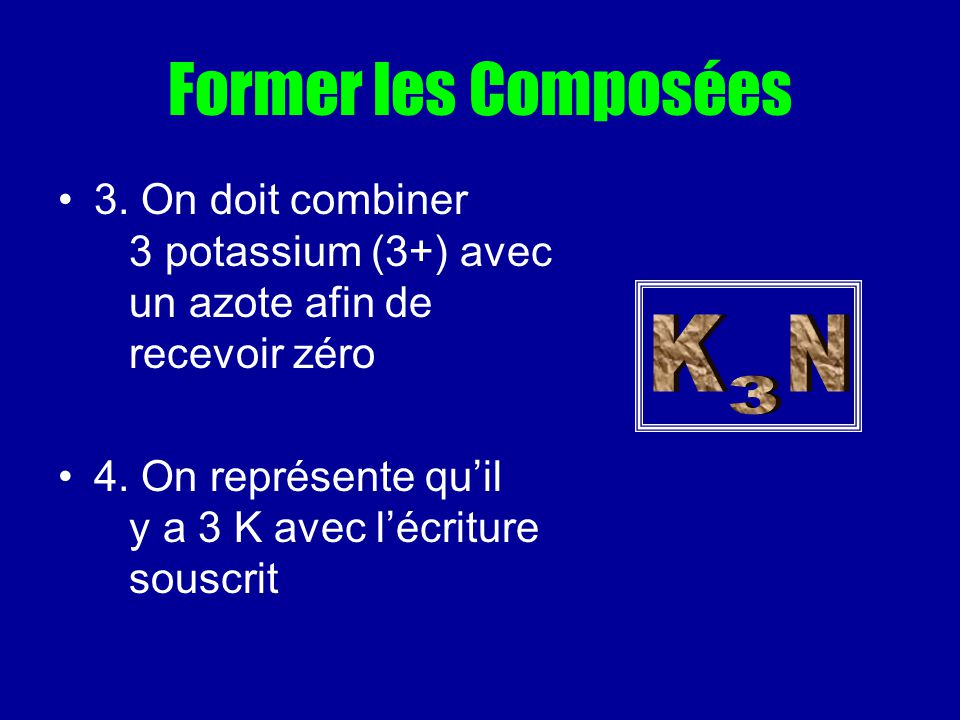 Former les Composées 3. On doit combiner 3 potassium (3+) avec un azote afin de recevoir zéro 4. On représente quil y a 3 K avec lécriture souscrit