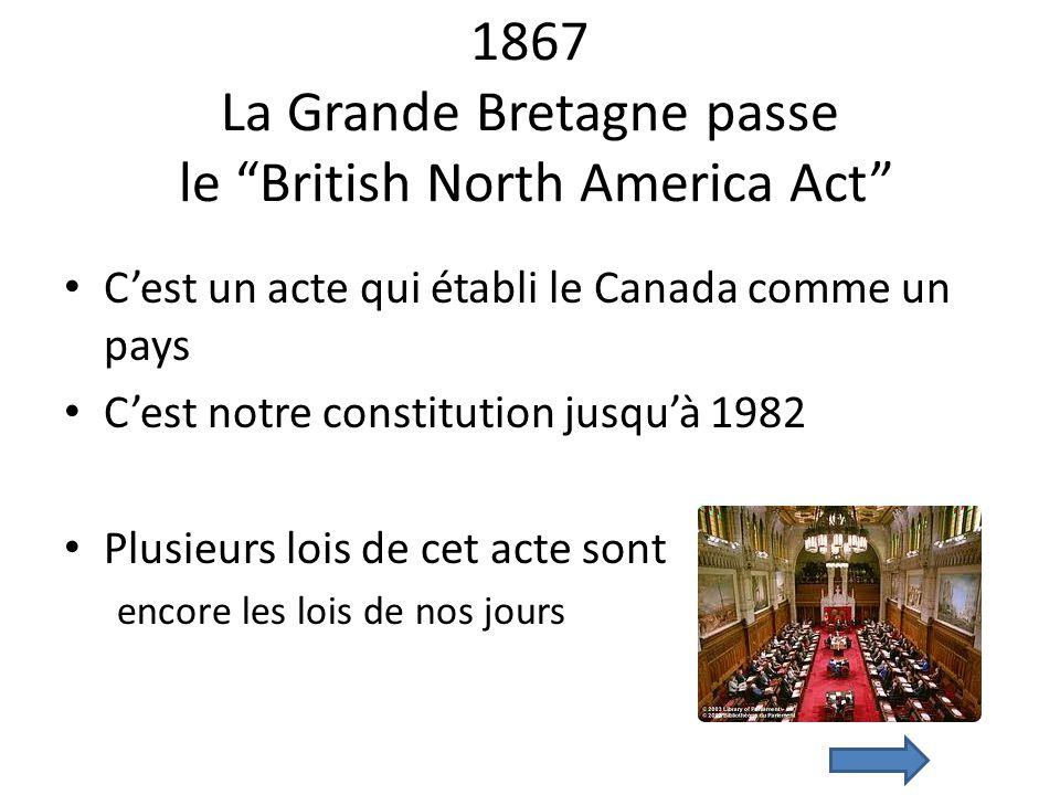 1867 La Grande Bretagne passe le British North America Act Cest un acte qui établi le Canada comme un pays Cest notre constitution jusquà 1982 Plusieu